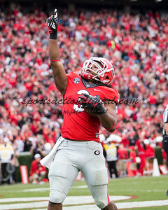 Georgia Bulldogs running back Todd Gurley (3) celebrates his score