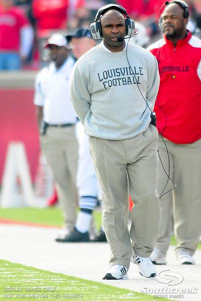 Louisville Cardinals head coach Charlie Strong.  West Virginia Mountaineers leads Louisville Cardinals 14 -10 at the half PaPa Johns Cardinal Stadium Louisville, Kentucky.