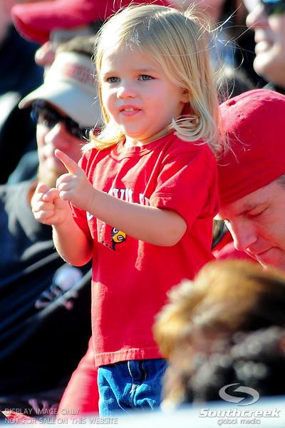 Louisville Cardinals fan during the game.  West Virginia Mountaineers leads Louisville Cardinals 14 -10 at the half PaPa Johns Cardinal Stadium Louisville, Kentucky.