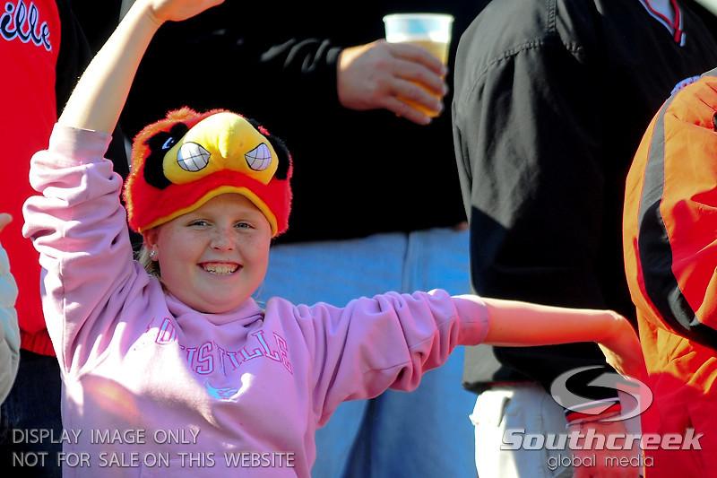 Little Louisville Cardinals fan.  West Virginia Mountaineers leads Louisville Cardinals 14 -10 at the half PaPa Johns Cardinal Stadium Louisville, Kentucky.
