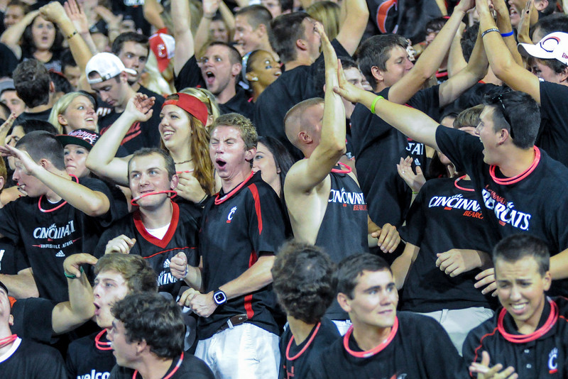 Cincinnati Bearcats fans celebrate during the game at Nippert Stadium in Cincinnati, Ohio.