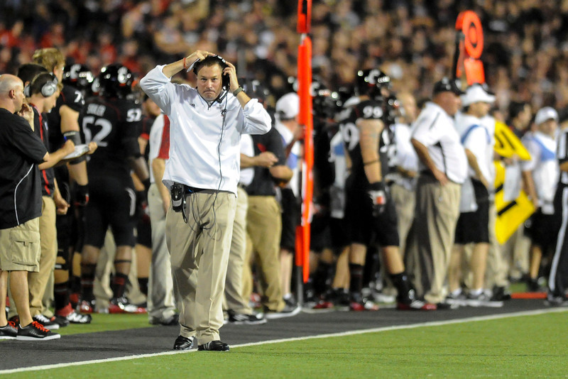 Cincinnati Bearcats head coach Butch Jones during the game.  Cincinnati Bearcats lead Pittsburgh Panthers 17-0 at the halftime at Nippert Stadium in Cincinnati, Ohio.
