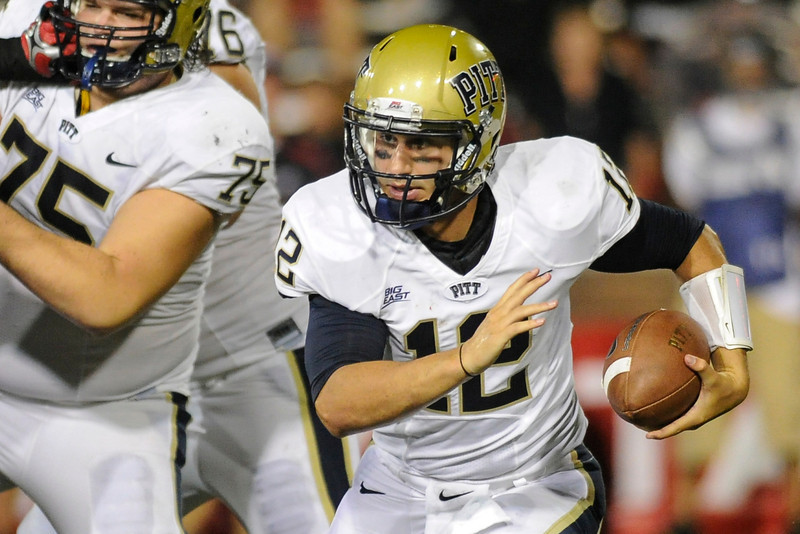 Pittsburgh Panthers quarterback Tino Sunseri (12) during the game.  Cincinnati Bearcats defeated Pittsburgh Panthers 34-10 at Nippert Stadium in Cincinnati, Ohio.