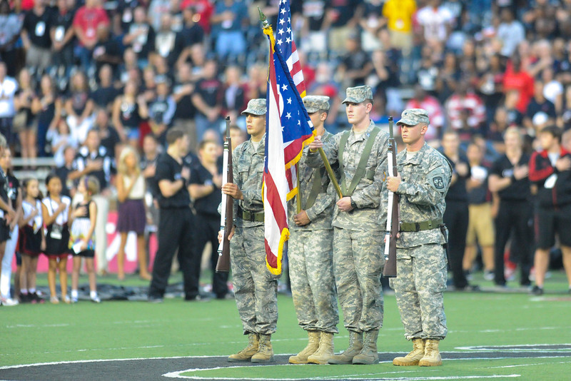 Ohio Color Guard before the game.  Cincinnati Bearcats defeated Pittsburgh Panthers 34-10 at Nippert Stadium in Cincinnati, Ohio.