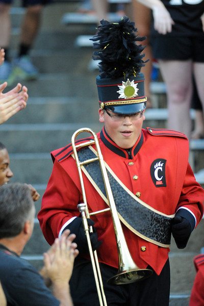 Cincinnati Bearcats band member runs down the steps before the game.  Cincinnati Bearcats defeated Pittsburgh Panthers 34-10 at Nippert Stadium in Cincinnati, Ohio.