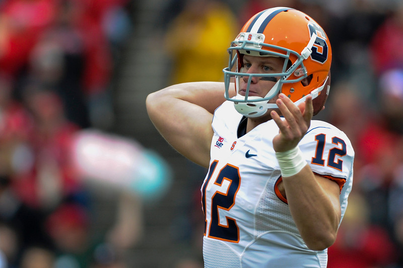 Syracuse Orange quarterback Ryan Nassib (12) during the game.  Cincinnati Bearcats defeated Syracuse Orange (35-24) at Nippert Stadium in Cincinnati, Ohio.
