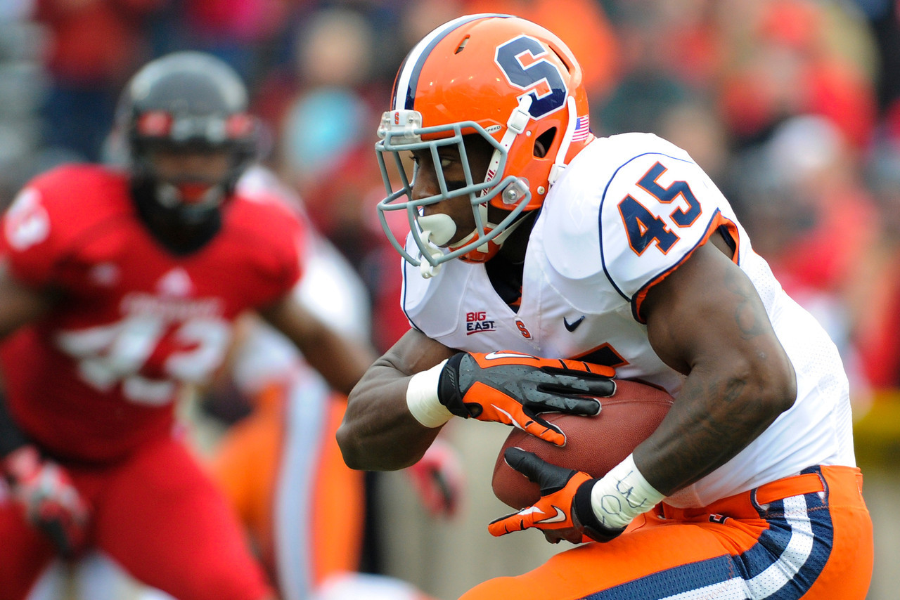 Syracuse Orange running back Jerome Smith (45) during the game.  Cincinnati Bearcats defeated Syracuse Orange (35-24) at Nippert Stadium in Cincinnati, Ohio.
