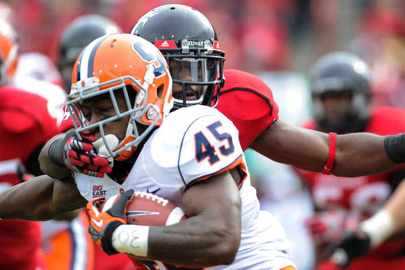 Syracuse Orange running back Jerome Smith (45) during the game.  Cincinnati Bearcats defeated Syracuse Orange (35-24) at Nippert Stadium in Cincinnati, Ohio.