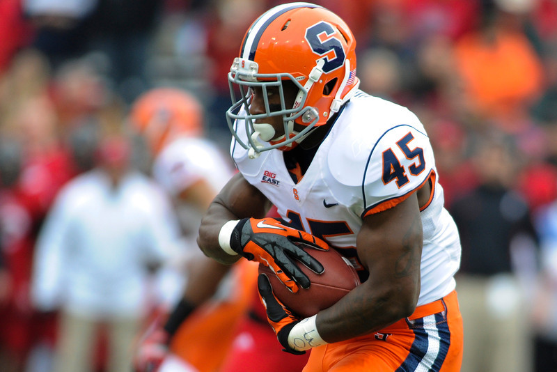 Syracuse Orange running back Jerome Smith (45) during the game. Syracuse Orange lead Cincinnati Bearcats (17-14) at the half at Nippert Stadium in Cincinnati, Ohio.