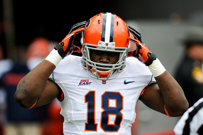 Syracuse Orange linebacker Siriki Diabate (18) before the game.  Cincinnati Bearcats defeated Syracuse Orange (35-24) at Nippert Stadium in Cincinnati, Ohio.