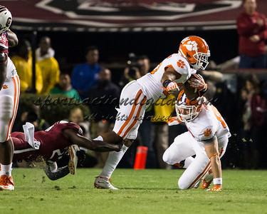Clemson Tigers running back Roderick McDowell (25), South Carolina Gamecocks cornerback Victor Hampton (27)