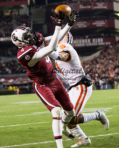 South Carolina Gamecocks wide receiver Shaq Roland (4), Clemson Tigers defensive back Bashaud Breeland (17)
