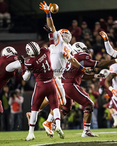 Clemson Tigers defensive tackle Josh Watson (91), South Carolina Gamecocks wide receiver Pharoh Cooper (11)
