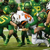 Oregon State running back Ryan Nall is bottled up during the Beavers' blowout loss to Oregon Saturday in the Civil War.
