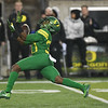 Oregon receiver Jaylon Redd hauls in a 49-yard first half catch from Justin Herbert Saturday in the Civil War game.