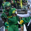 Oregon receiver Dillon Mitchell hauls in a touchdown pass from Justin Herbert in the first half of the Ducks' victory Saturday at Autzen Stadium in the Civil War football game.
