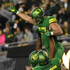 Oregon tight end Jacob Breeland celebrates his first half touchdown catch in the Ducks' win Saturday over Oregon State in the Civil War.