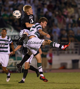 The number 5 ranked Charlotte 49ers play the University of South Carolina Gamecocks at Transamerica field in Charlotte.  Charlotte won 3-2 in the second overtime.  Braeden Troyer (13), Will Mayhew (6)
