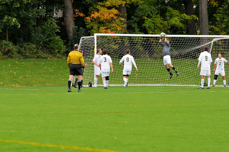 DSC_2009-14075. Nick Pellegrini makes a save on one of Newbury's 6 shots on goal.