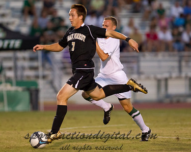 Freshman Kyle Emerson of Wake Forest attacks