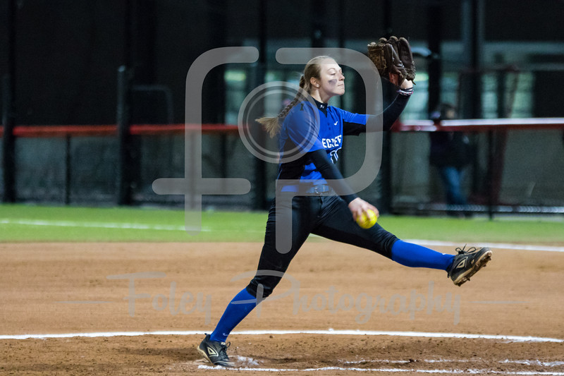 Thursday, March 30, 2017; Worcester, MA; Becker College Hawks Samantha Belenchia (10) tosses a pitch during the Hawks 13-4 victory over the Amcats.