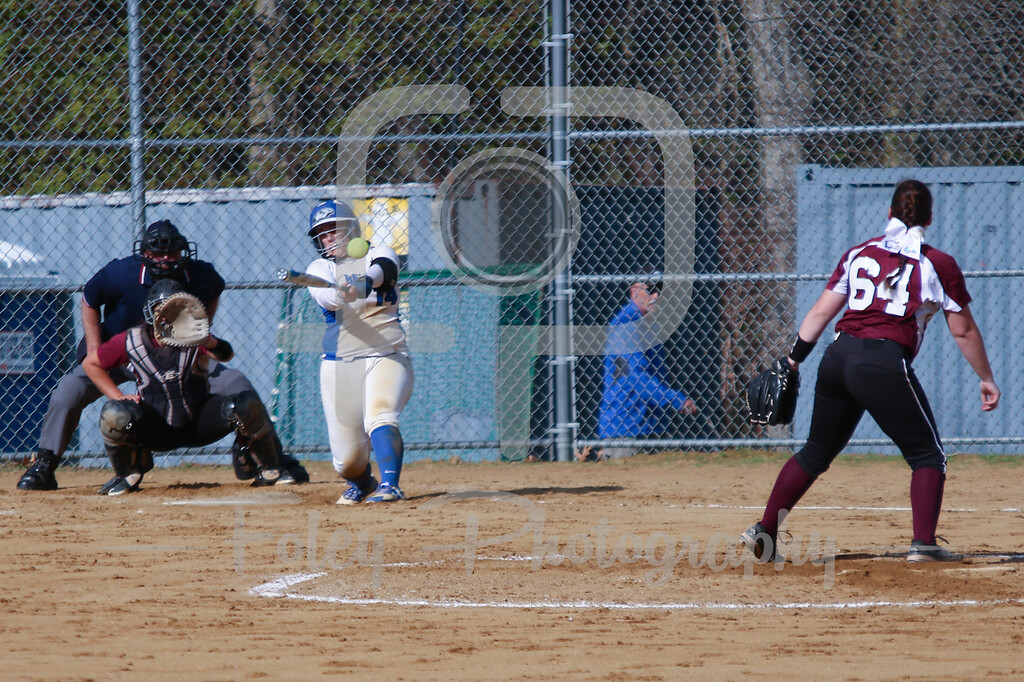Becker College Hawks catcher Megan Klemanchuck (14) Bay Path WIldcats pitcher Madison Goodhart (64)