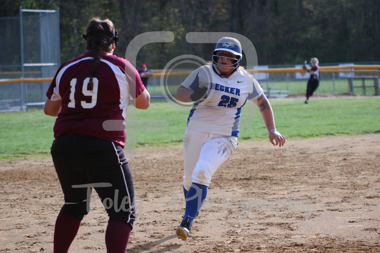 Becker College Hawks first baseman Ashley Ciepiela (25)