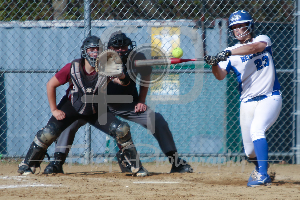 Becker College Hawks outfielder Vasia Murphy (23) Bay Path WIldcats pitcher Madison Goodhart (64)