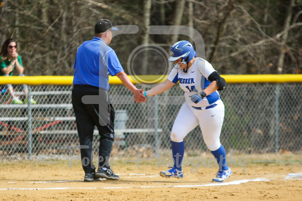 Becker College Hawks catcher Megan Klemanchuck (14) Becker College Hawks head coach Richard Hurley