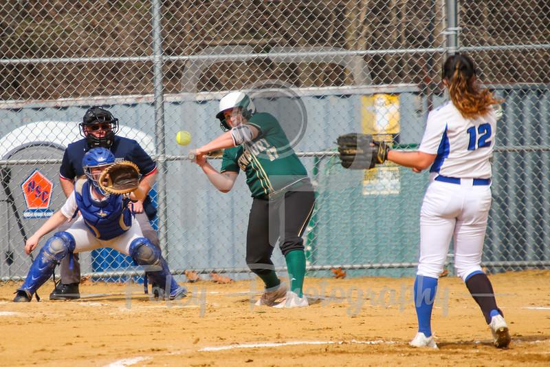 Becker College Hawks Samantha Lee (12) Becker College Hawks catcher Lauren Niemann (7) Newbury College Nighthawks Noelle Sass (17)