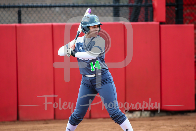Lesley College catcher Juliana Cecere (14)