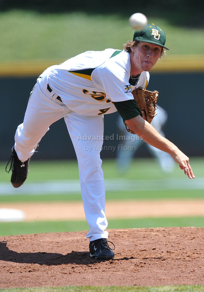 4th June 2010:  <br /> Baylor Pitcher Logan Verrett #4 on the mound<br /> at the 2010 College World Series Fort Worth Regional game<br /> between the Baylor Bears and the Arizona Wildcats at Lupton Stadium in Fort Worth, Texas.<br /> Arizona wins 5-3