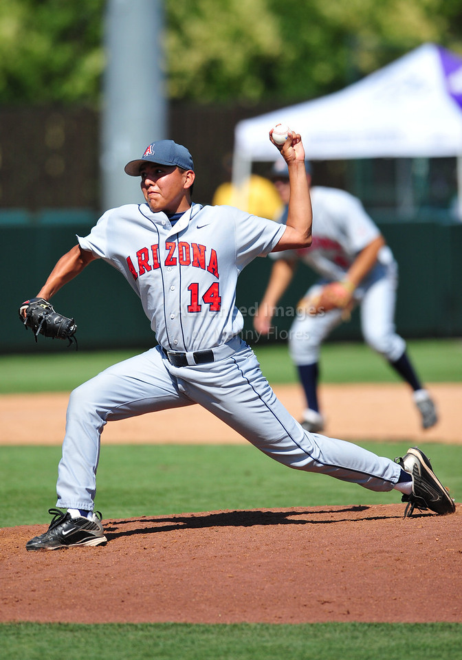 4th June 2010:  <br /> Arizona Pitcher Vincent Littleman #14 takes the mound<br /> at the 2010 College World Series Fort Worth Regional game<br /> between the Baylor Bears and the Arizona Wildcats at Lupton Stadium in Fort Worth, Texas.<br /> Arizona wins 5-3