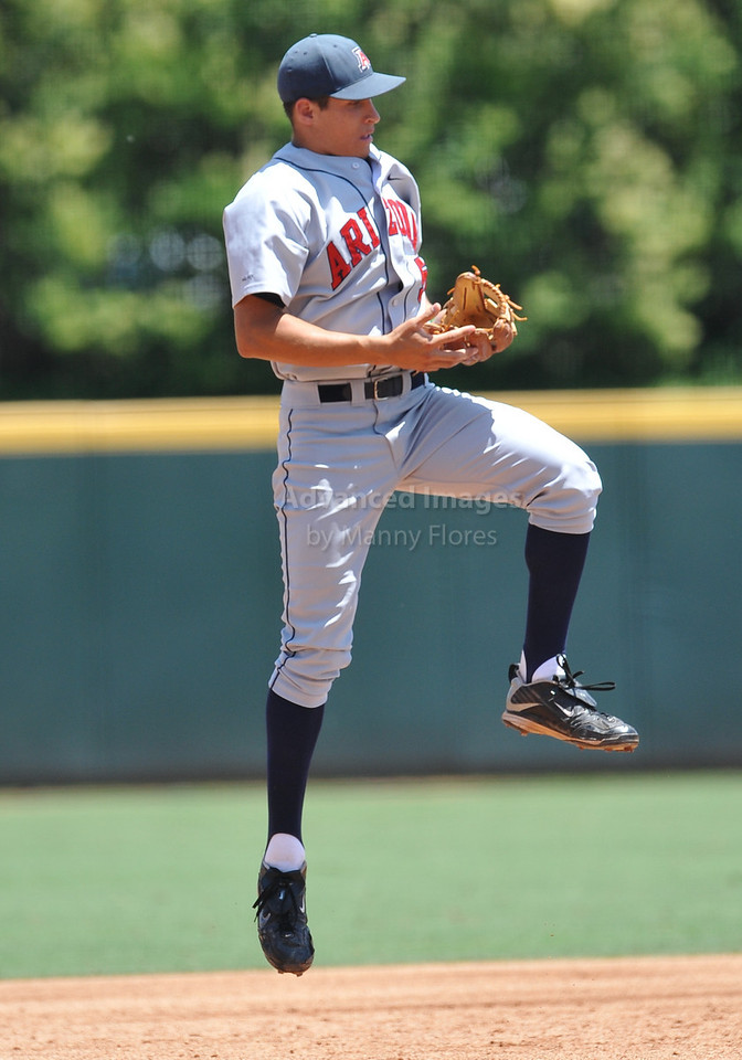4th June 2010:  <br /> Arizona INF Seth Mejias-Brean #5 catches a flyball at the 2010 College World Series Fort Worth Regional game<br /> between the Baylor Bears and the Arizona Wildcats at Lupton Stadium in Fort Worth, Texas.<br /> Arizona wins 5-3