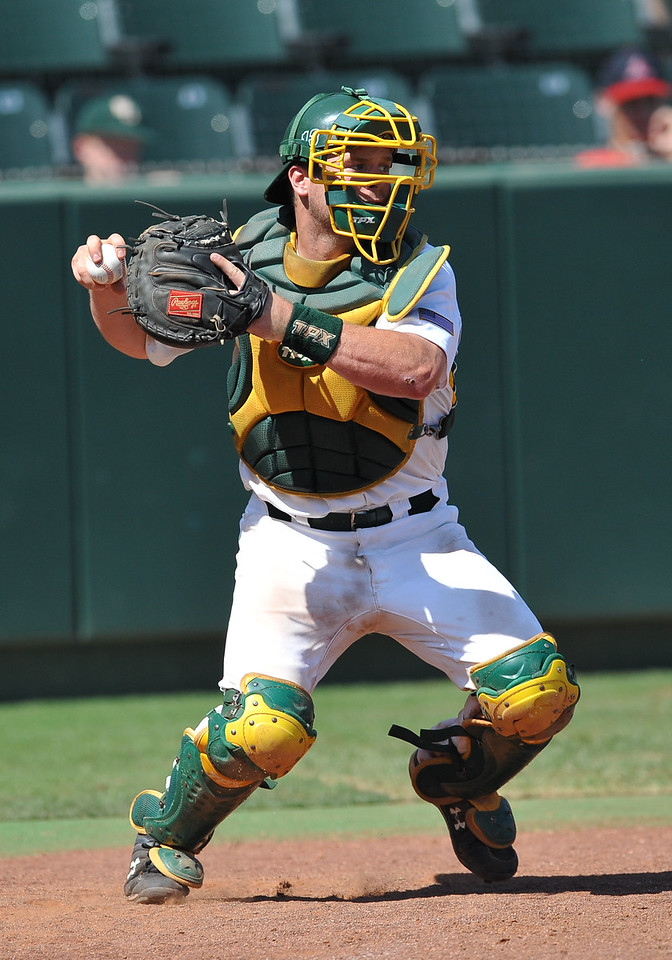 4th June 2010:  <br /> Baylor Catcher Greg Glime #13 in action<br /> at the 2010 College World Series Fort Worth Regional game<br /> between the Baylor Bears and the Arizona Wildcats at Lupton Stadium in Fort Worth, Texas.<br /> Arizona wins 5-3