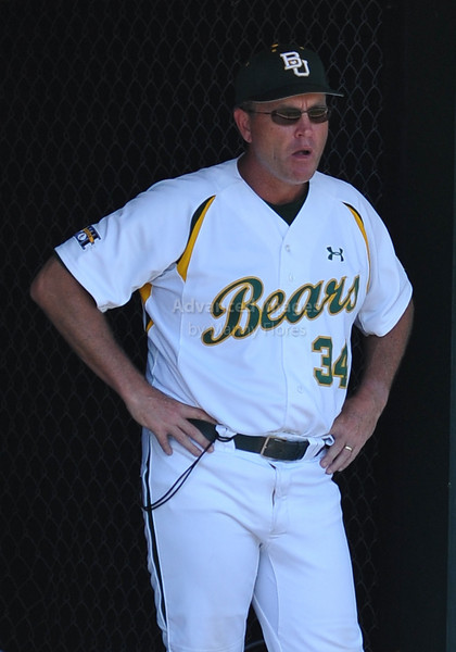 4th June 2010:  <br /> Baylor Head Coach Steve Smith #34 frustrated during a game<br /> at the 2010 College World Series Fort Worth Regional game<br /> between the Baylor Bears and the Arizona Wildcats at Lupton Stadium in Fort Worth, Texas.<br /> Arizona wins 5-3