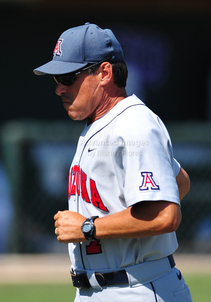 4th June 2010:  <br /> Arizona Head Coach Andy Lopez #7 heads to the dugout<br /> at the 2010 College World Series Fort Worth Regional game<br /> between the Baylor Bears and the Arizona Wildcats at Lupton Stadium in Fort Worth, Texas.<br /> Arizona wins 5-3