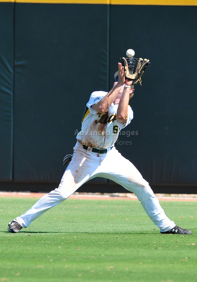 4th June 2010:  <br /> Baylor Right Fielder Brooks Pinckard #16 gets a fly ball<br /> at the 2010 College World Series Fort Worth Regional game<br /> between the Baylor Bears and the Arizona Wildcats at Lupton Stadium in Fort Worth, Texas.<br /> Arizona wins 5-3