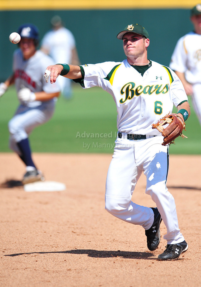 4th June 2010:  <br /> Baylor Second Baseman Raynor Campbell #6 gets a runner out a first base at the 2010 College World Series Fort Worth Regional game<br /> between the Baylor Bears and the Arizona Wildcats at Lupton Stadium in Fort Worth, Texas.<br /> Arizona wins 5-3