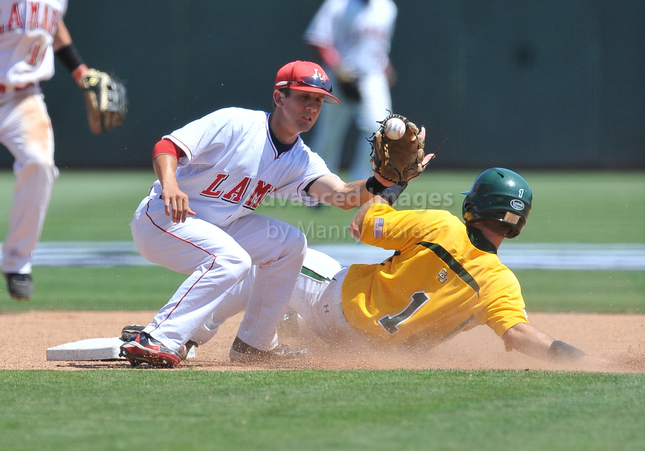 5th June 2010:  <br /> Baylor IF Joey Hainsfurther #1 gets a steal while Lamar 2nd baseman Aaron Buchanan is just slow at tagging him out at the 2010 NCAA Fort Worth Regional game between the Baylor Bears and the Lamar Cardinals at Lupton Stadium in Fort Worth, Texas.<br /> Baylor wins 6-4