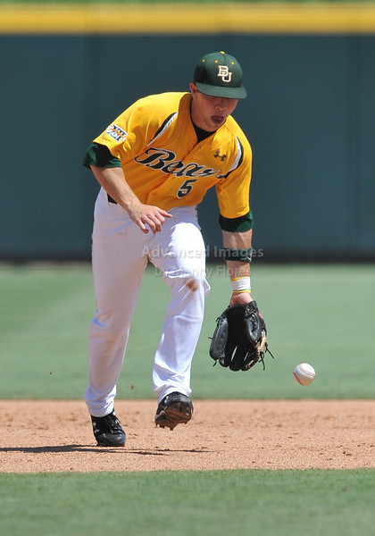 5th June 2010:  <br /> Baylor SS Landis Ware #5 gets a ground out<br /> at the 2010 NCAA Fort Worth Regional game between the Baylor Bears and the Lamar Cardinals at Lupton Stadium in Fort Worth, Texas.<br /> Baylor wins 6-4