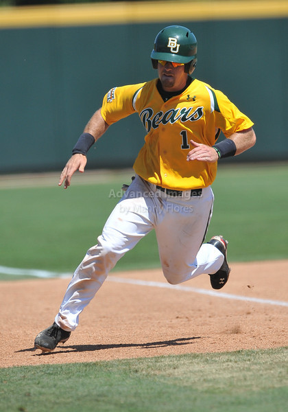 5th June 2010:  <br /> Baylor IF Joey Hainsfurther #1 rounds 3rd base and scores<br /> at the 2010 NCAA Fort Worth Regional game between the Baylor Bears and the Lamar Cardinals at Lupton Stadium in Fort Worth, Texas.<br /> Baylor wins 6-4