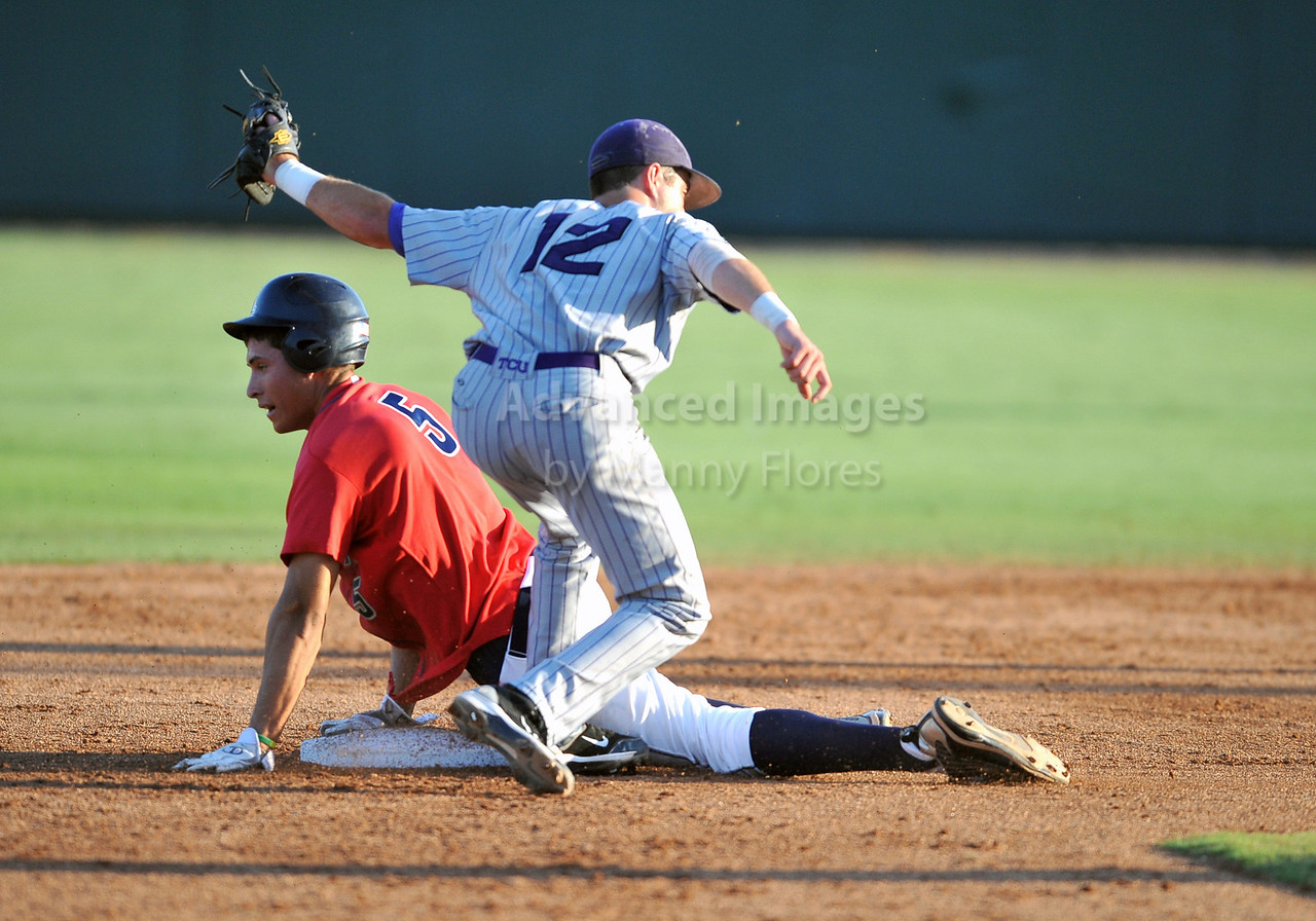 5th June 2010:  <br /> TCU SS Taylor Featherston #12 tags out Arizona Seth Mejias- Brean #5 as he attempts to steal second base during the 2010 NCAA Fort Worth Baseball Regional game between the TCU Horned Frogs and the Arizona Wildcats at Lupton Stadium in Fort Worth, Texas.<br /> TCU wins 11-5