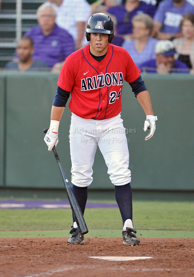 5th June 2010:  <br /> Arizona 1st Baseman Cole Frenzel #24 reads the 3B coach for a sign during the 2010 NCAA Fort Worth Baseball Regional game between the TCU Horned Frogs and the Arizona Wildcats at Lupton Stadium in Fort Worth, Texas.<br /> TCU wins 11-5