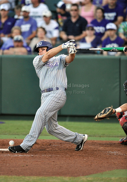 5th June 2010:  <br /> TCU DH Joe Weik #33 fouls the ball of of his left foot<br /> during the 2010 NCAA Fort Worth Baseball Regional game<br /> between the TCU Horned Frogs and the Arizona Wildcats at Lupton Stadium in Fort Worth, Texas.<br /> TCU wins 11-5