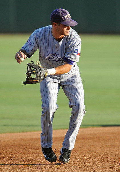 5th June 2010:  <br /> TCU SS Taylor Featherston #12 gets a ground ball for an out<br /> during the 2010 NCAA Fort Worth Baseball Regional game<br /> between the TCU Horned Frogs and the Arizona Wildcats at Lupton Stadium in Fort Worth, Texas.<br /> TCU wins 11-5