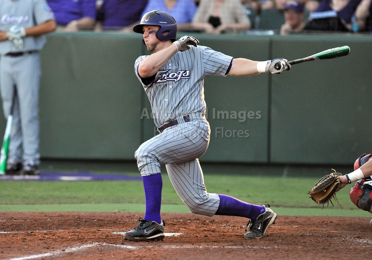 5th June 2010:  <br /> TCU Catcher Bryan Holaday #16 at bat<br /> during the 2010 NCAA Fort Worth Baseball Regional game<br /> between the TCU Horned Frogs and the Arizona Wildcats at Lupton Stadium in Fort Worth, Texas.<br /> TCU wins 11-5