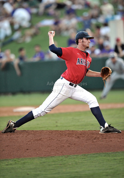 5th June 2010:  <br /> Arizona Pitcher Kyle Simon #18 on the mound<br /> during the 2010 NCAA Fort Worth Baseball Regional game<br /> between the TCU Horned Frogs and the Arizona Wildcats at Lupton Stadium in Fort Worth, Texas.<br /> TCU wins 11-5