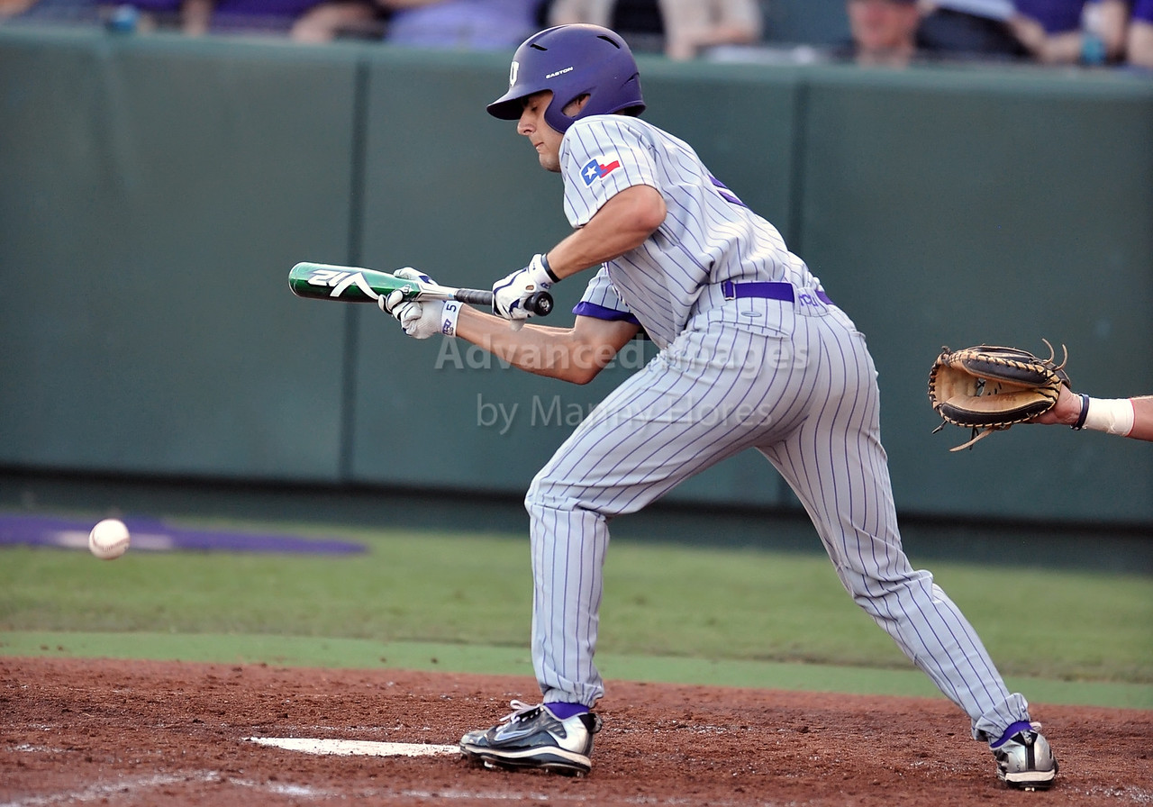 5th June 2010:  <br /> TCU RF Brance Rivera #5 gets a bunt for a base hit<br /> during the 2010 NCAA Fort Worth Baseball Regional game<br /> between the TCU Horned Frogs and the Arizona Wildcats at Lupton Stadium in Fort Worth, Texas.<br /> TCU wins 11-5