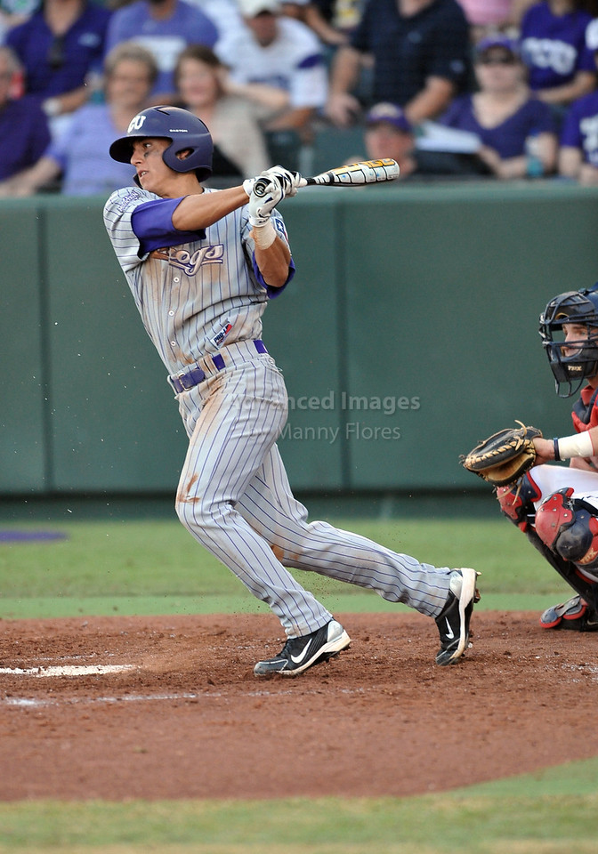 5th June 2010:  <br /> TCU 2B Jerome Pena #2 gets a base hit<br /> during the 2010 NCAA Fort Worth Baseball Regional game<br /> between the TCU Horned Frogs and the Arizona Wildcats at Lupton Stadium in Fort Worth, Texas.<br /> TCU wins 11-5